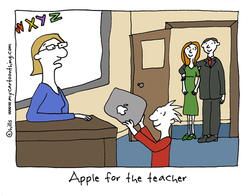 Apple for the teacher cartoon