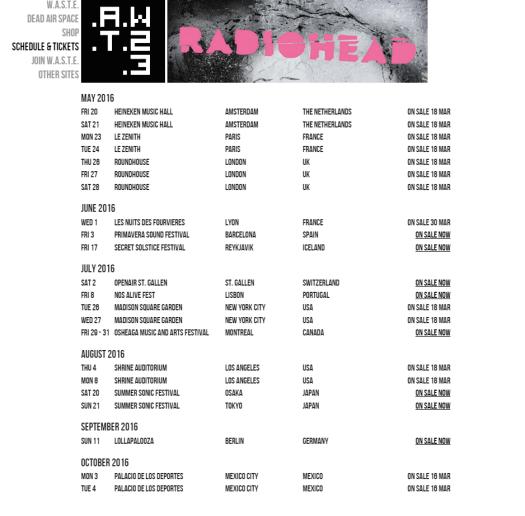 radiohead tour