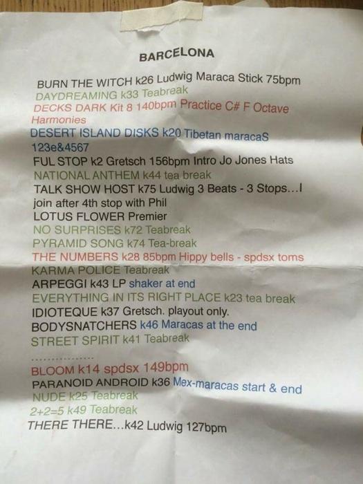 radiohead setlist clive